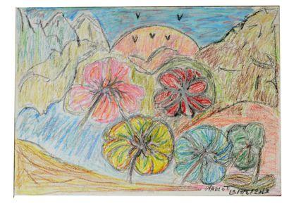 Mario TIBURCE (1974)  Réunion de 3 pastels...