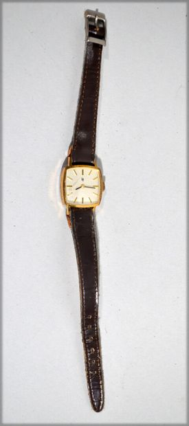 LIP - Men's wristwatch in gold-plated metal, television dial with champagne background...