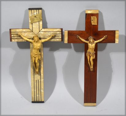 Meeting of two 2 crucifixes with christ in...