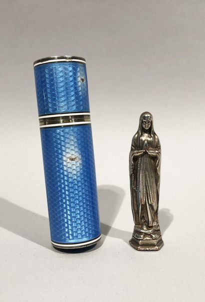 Blue and white enamelled silver case containing...