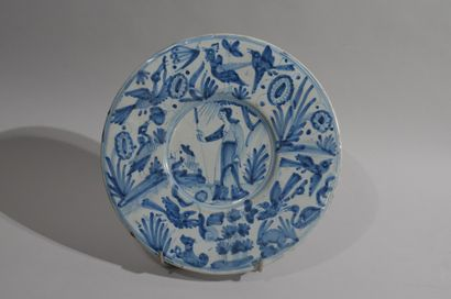 NEVERS, 17th century  Earthenware plate with...