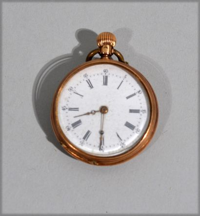 Watch with 18 k (750/oo) yellow gold necklace, white enamelled round dial with black...