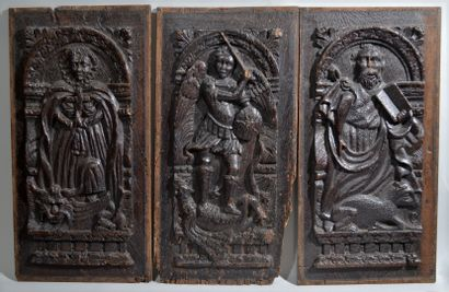 MEETING OF THREE DECORATIVE PANELS in carved...
