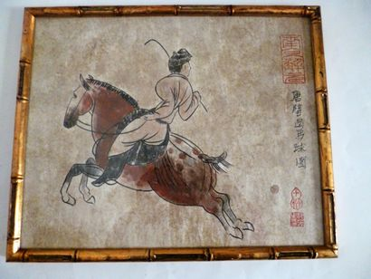 Painting of a horse and its rider galloping...