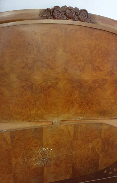 Bedroom furniture in mahogany and burr veneer, mother-of-pearl marquetry decorated...