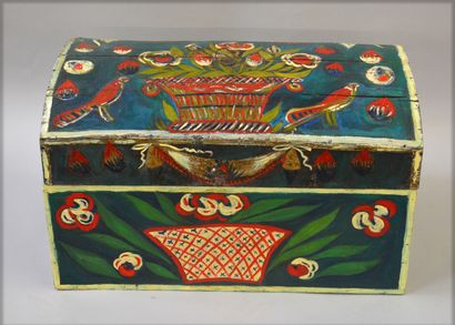 Painted wooden wedding chest decorated with...