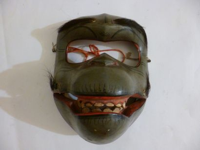 KYOGEN mask in grey green lacquered wood...