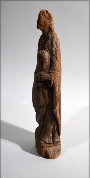 CHILD VIRGIN in carved wood.  Period 18th...