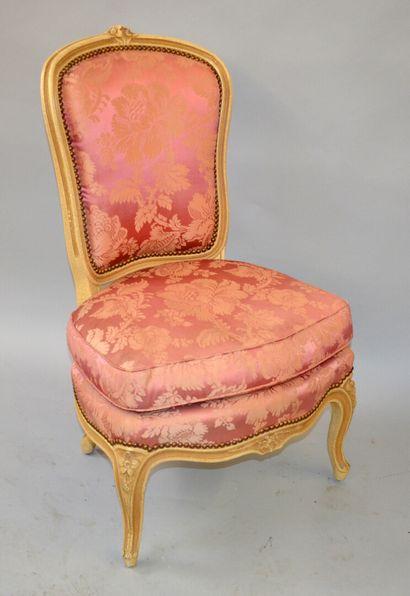 Chaise de nourrice en bois laqué blanc -...