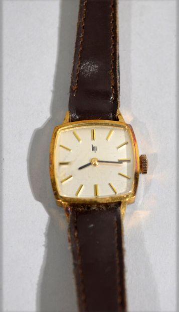 LIP - Men's wristwatch in gold-plated metal,...