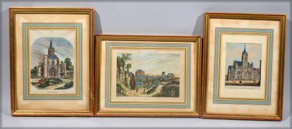 Reunion de trois gravures représentant L'eglise...