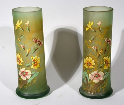 PAIR OF VASES green frosted glass scroll...