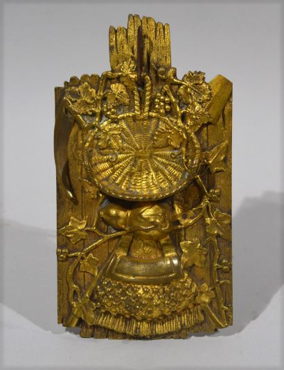Bronze watch holder with a gilded patina,...