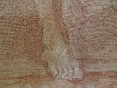 Gian Lorenzo BERNINI (1598-1680)  Académie d'homme  Sanguine avec de légers rehauts...