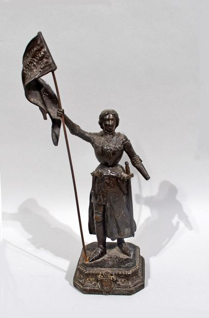 Ecole du XXème  Jeanne d'Arc  Régule à patine...