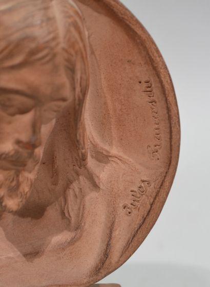 """Louis Julien Jules FRANCESCHI (1825-1893)  """"Tête de Christ""""  Bas-relief en terre..."""
