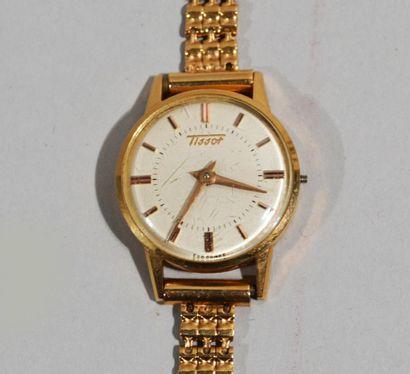 TISSOT - Montre bracelet de dame en or jaune...