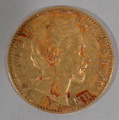 Une pièce de 20 ReichMark allemande en or...