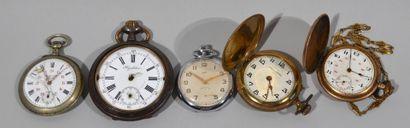 Lot de montres gousset, chronomètre et régulateur...