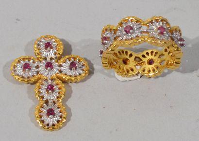 PARURE en or jaune et blanc 18K (750/1000e)...