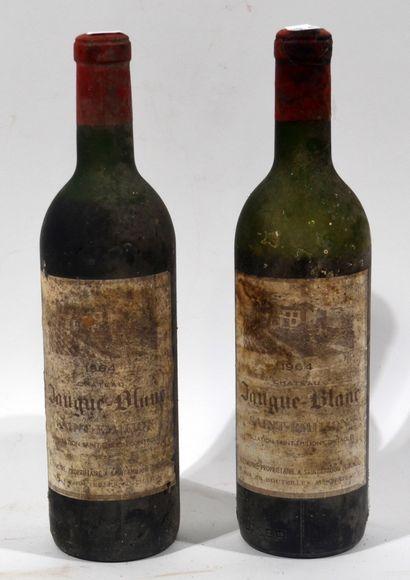 2 bouteilles de CHATEAU JAUGUE-BLANC 1964...
