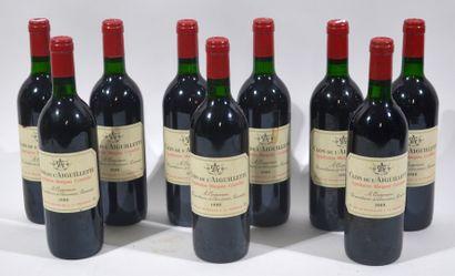 9 bouteilles de Clos de l'Aiguillette - Margaux...