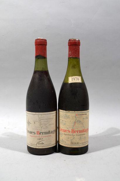 Deux bouteilles de CROZES HERMITAGE Nicolas...