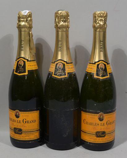 3 bouteilles de BLANC DE NOIR CHARLES LE GRAND Crémant de Bourgogne Brut
