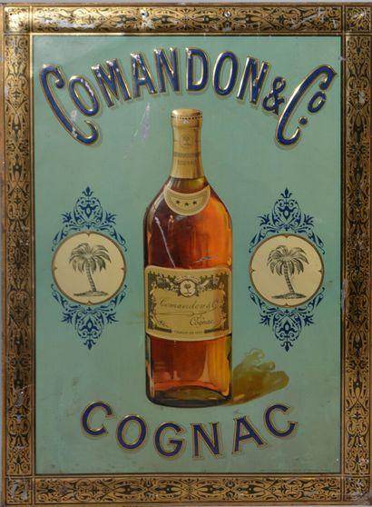 PLAQUE en tôle peinte représentant une bouteille...