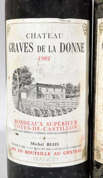 Deux bouteilles de GRAVES DE LA DONNE Cotes de Castillon Michel Biais propriétaire...