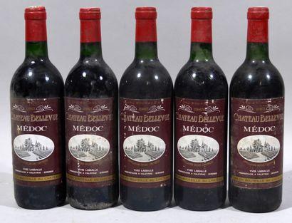 5 bouteilles de CHATEAU BELLEVUE Médoc Yves...