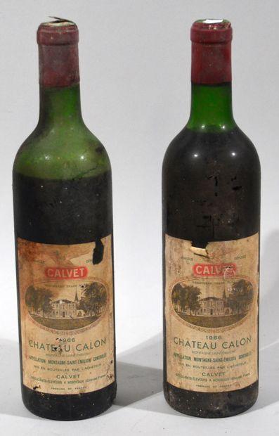 2 bouteilles de CHATEAU CALON 1966 Montagne...
