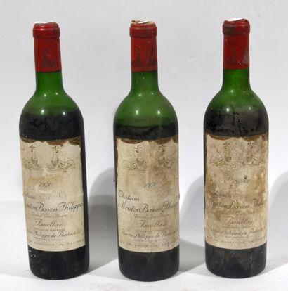 3 bouteilles de CHATEAU MOUTON BARON PHILIPPE...