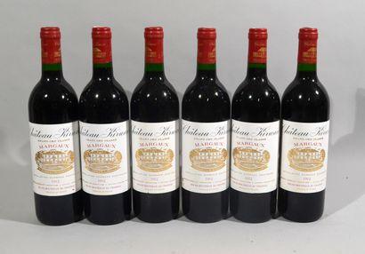 6 bouteilles de CHATEAU KIRVAN Margaux 1992...