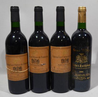 3 bouteilles de CHATEAU LES CHENES DE DOMEYNE Saint Estèphe Lionel Dufour 1999 (étiquettes...