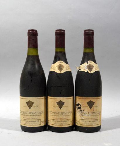 Trois bouteilles de CROZES HERMITAGE Cave...