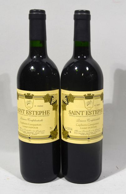 2 bouteilles de SAINT ESTEPHE Réserve confidentielle Lionel Dufour 1999