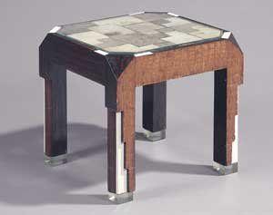 Jean-Charles MOREUX (1889-1956) RARE TABLE éclairante d'inspiration cubisante, à...