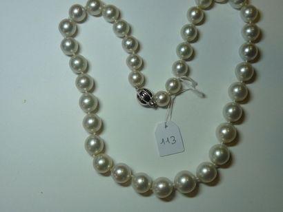 Collier de perles des Mers du Sud en chute, diamètre 9,9 à 12,7 mm, fermoir boule...