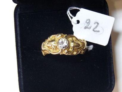 Bague Chevalière en or jaune formée de deux...