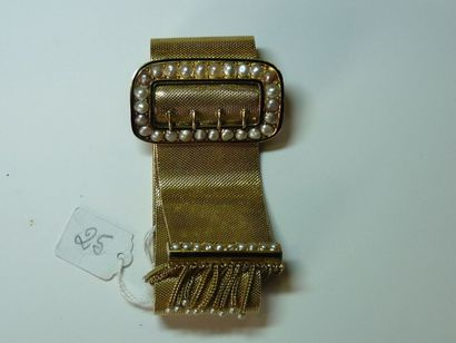 Large bracelet ceinture en tissu d'or jaune...