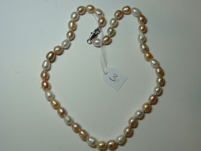 Collier de perles d'eau douce multicolores,...