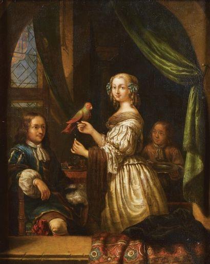 École hollandaise vers1800 (dans le goût de Gaspar NETSCHER)