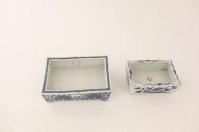 CHINE Deux petites jardinières rectangulaires à décors floraux bleu et blanc, dynastie...