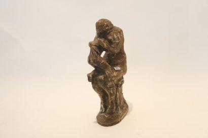 """ECOLE FRANCAISE """"Maternité"""", début XXe, groupe en plâtre à patine nuancée façon terracotta,..."""