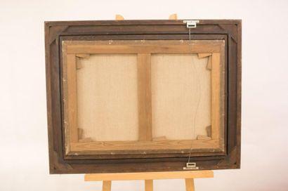 """STEVENS Jean Daniel """"Bonne lisant"""", reproduction (?) marouflée sur toile, 70x49,5..."""