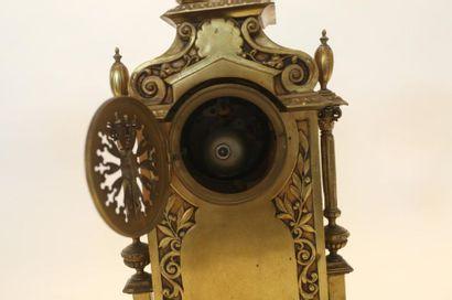 Garniture de cheminée d'époque Napoléon III, fin XIXe, bronze, avec clefs, trois...