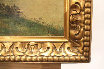 """Ecole Belge """"Halage"""", début XXe, huile sur toile, signée en bas à droite, 49,5x60,5..."""