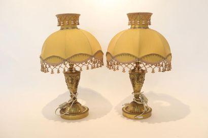 Paire de lampes de table de style, XXe, métal...