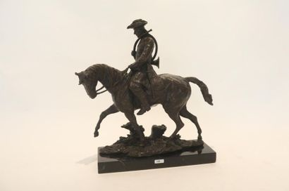 """RUDIN Paul (1904-1992) """"Sonneur à cheval"""", XXe, épreuve en bronze à patine nuancée,..."""